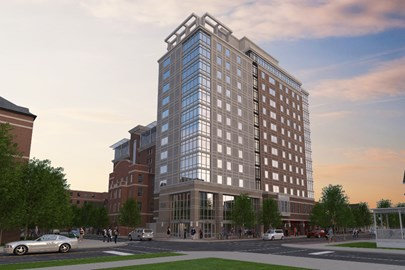 ArborBLU is a new student housing building coming to the University of Michigan campus by Opus Development Company.