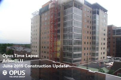 time-lapse video showing construction progress on The Opus Group's ArborBLU student housing development