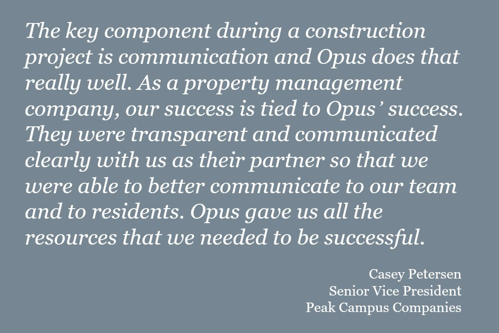 quote about Opus' student housing development and construction