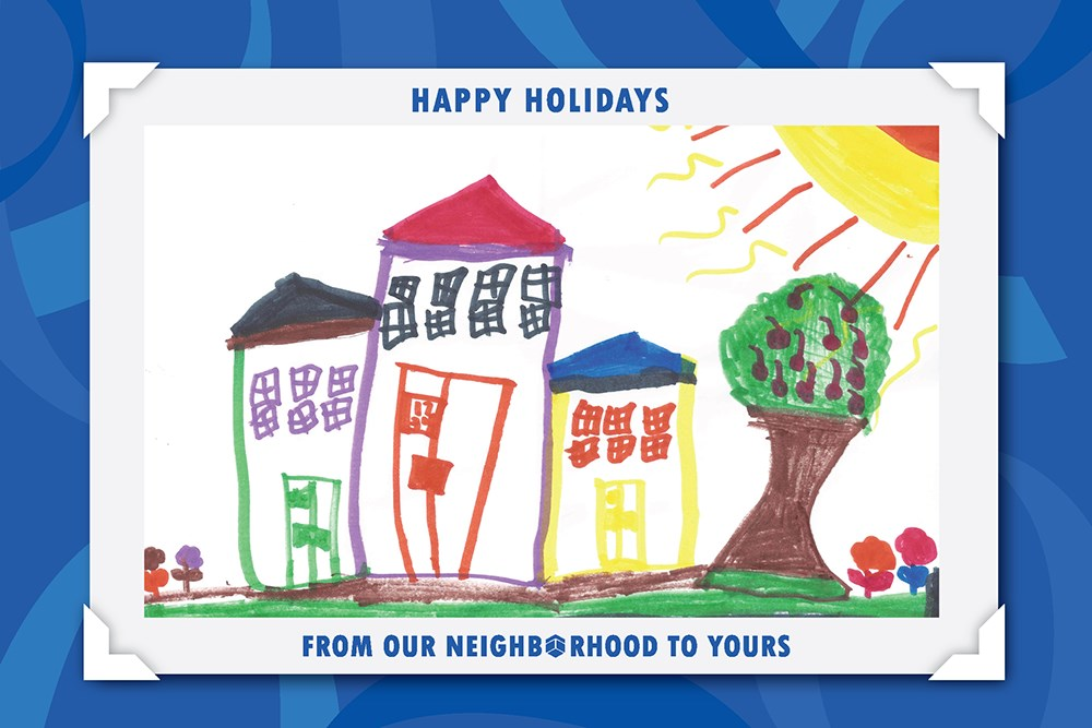 Our holiday cards feature artwork created by an Opus Foundation funded nonprofit's client.