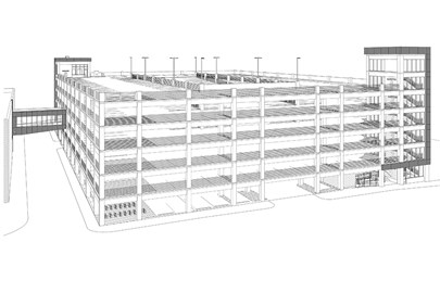 Rendering of green parking garage for the City of Westminster