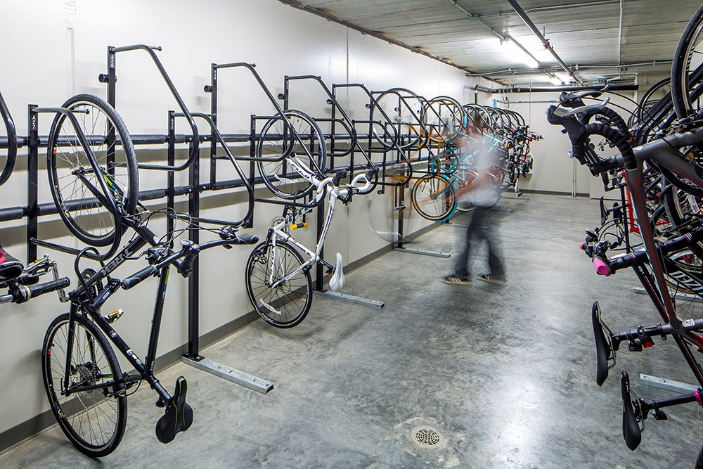 Velo features luxury amenities including a bike storage area.