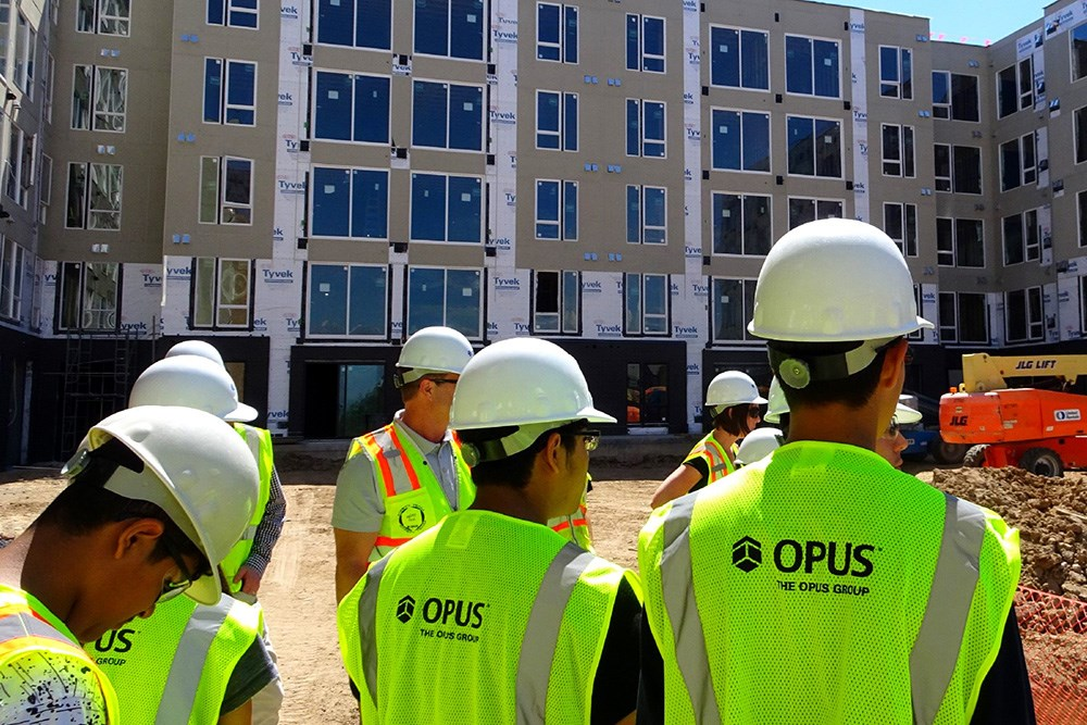 Students in a Denver Urban Scholars program learned about construction and real estate careers and toured The Glenn, which is developed, designed and built by Opus.