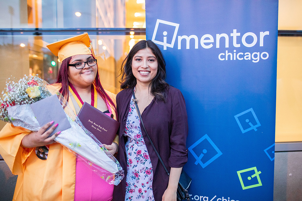 a young female graduate and her mentor from iMentor Chicago
