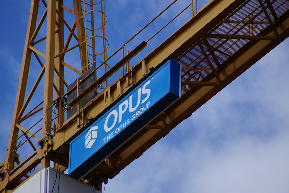 The Opus Group construction crane