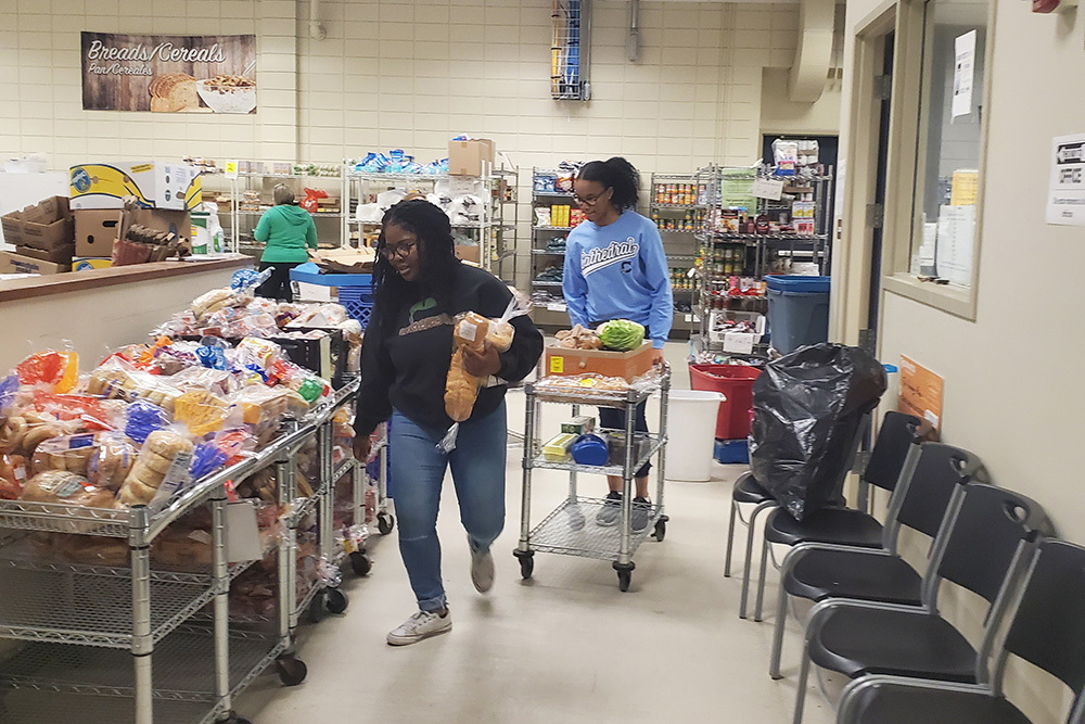Lutheran Child and Family women in food distribution center
