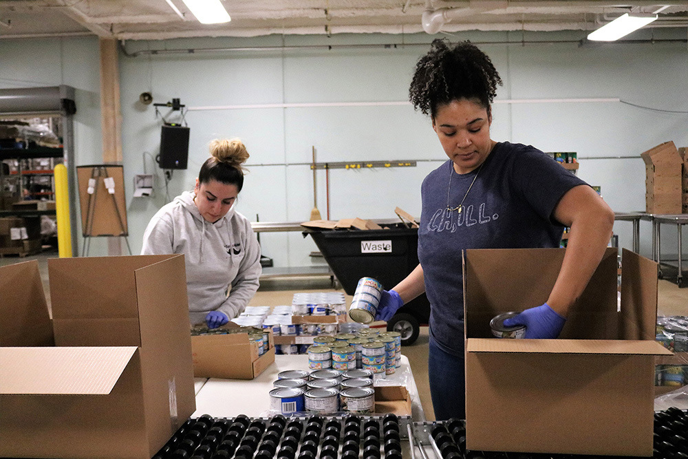 Greater Chicago Food Depository women working in food distribution center