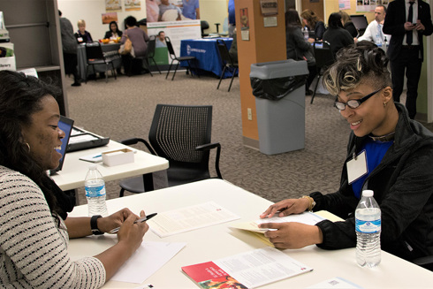 two women participate in a workforce development workshop with Goodwill of Central and Southern Indiana