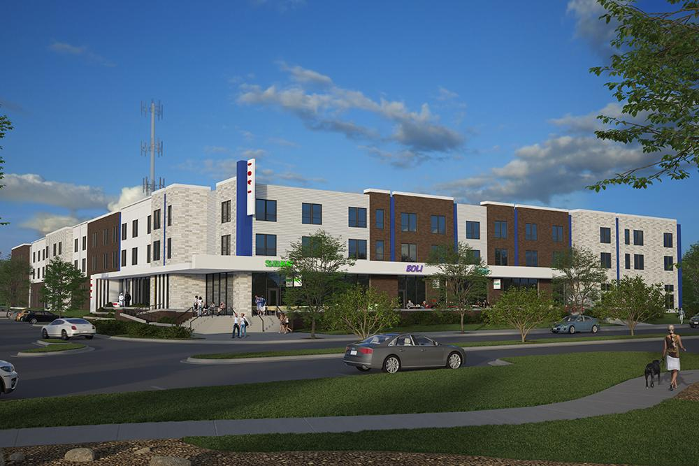 Rendering of Proxi - Lawrence Student Living, built by Opus