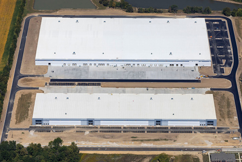 aerial of Winchester Logistics Park, built by Opus