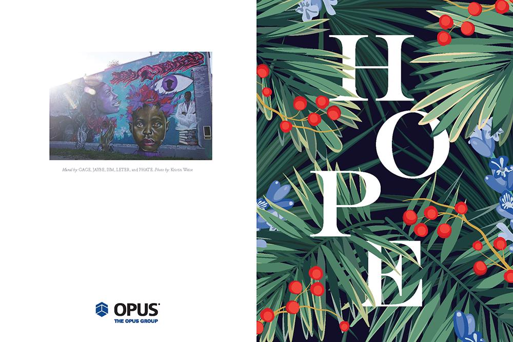 The Opus Group's 2020 holiday card featuring the word 'hope' set amongst greenery, flowers and holly berries