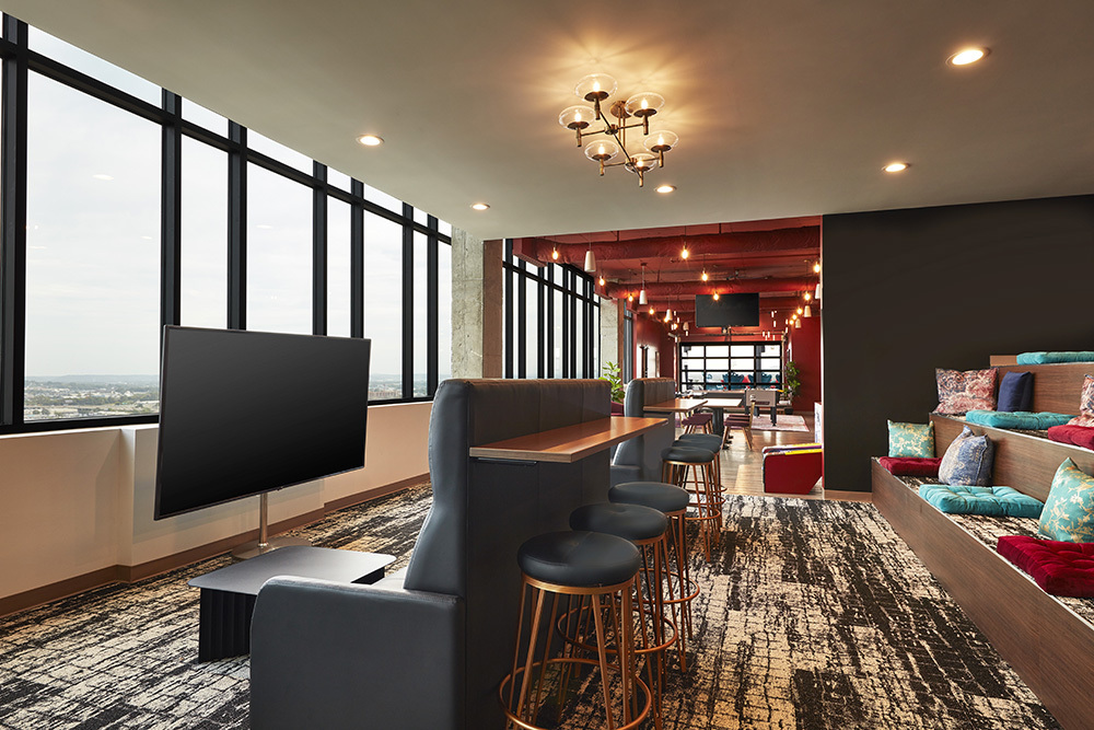 cozy and quirky clubroom lounge at Ascend Five Points South student living development in Birmingham, Alabama