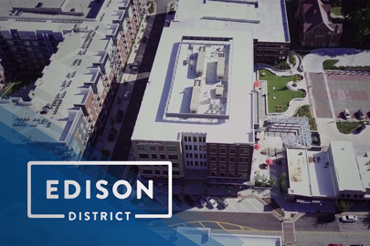 aerial of Edison District, a mixed-use development, in Overland Park, Kansas