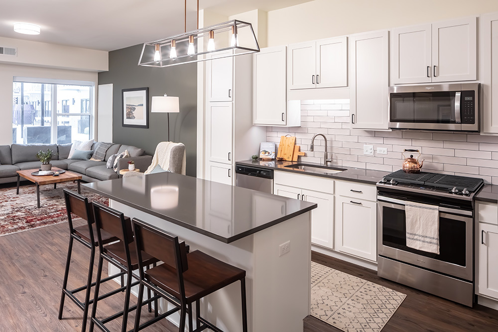 The Marke of Elmhurst Luxury Multifamily Model Unit Kitchen developed by Opus