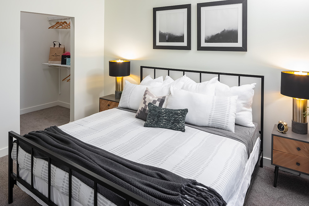 The Marke of Elmhurst Luxury Multifamily Model Unit Bedroom developed by Opus