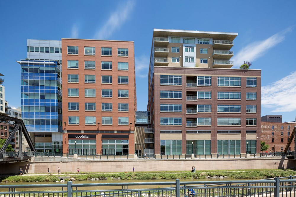 final images of Opus' mixed-use office development in Denver