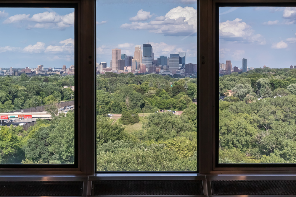 Views of downtown Minneapolis from the penthouse at  3701 Wayzata Blvd office in Minneapolis