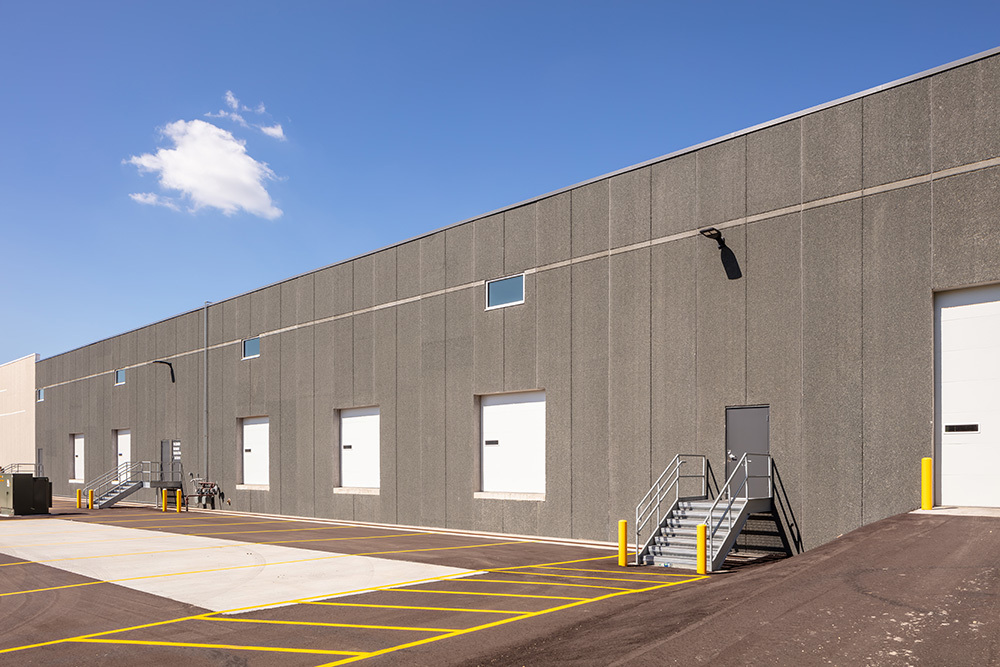Outside of loading docks at Beacon Bluffs spec industrial, built by Opus