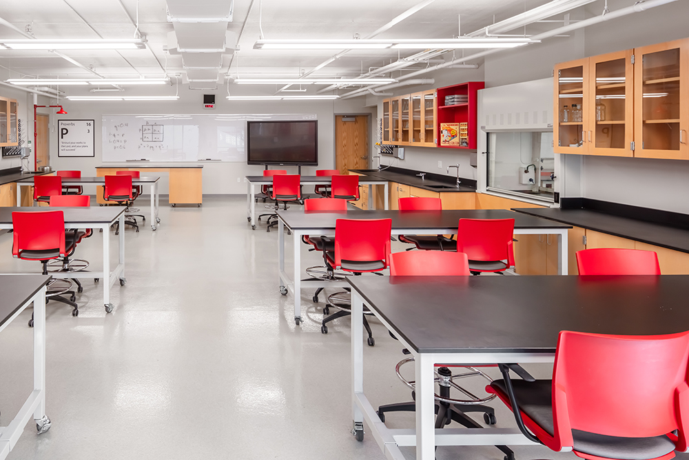 Science classroom at Benilde-St. Margaret's Expansion & Renovation by Opus Design Build, L.L.C.