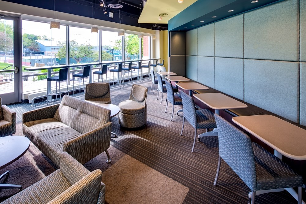 Informal collaboration spaces were included in Creighton University's redesigned Harper Center.