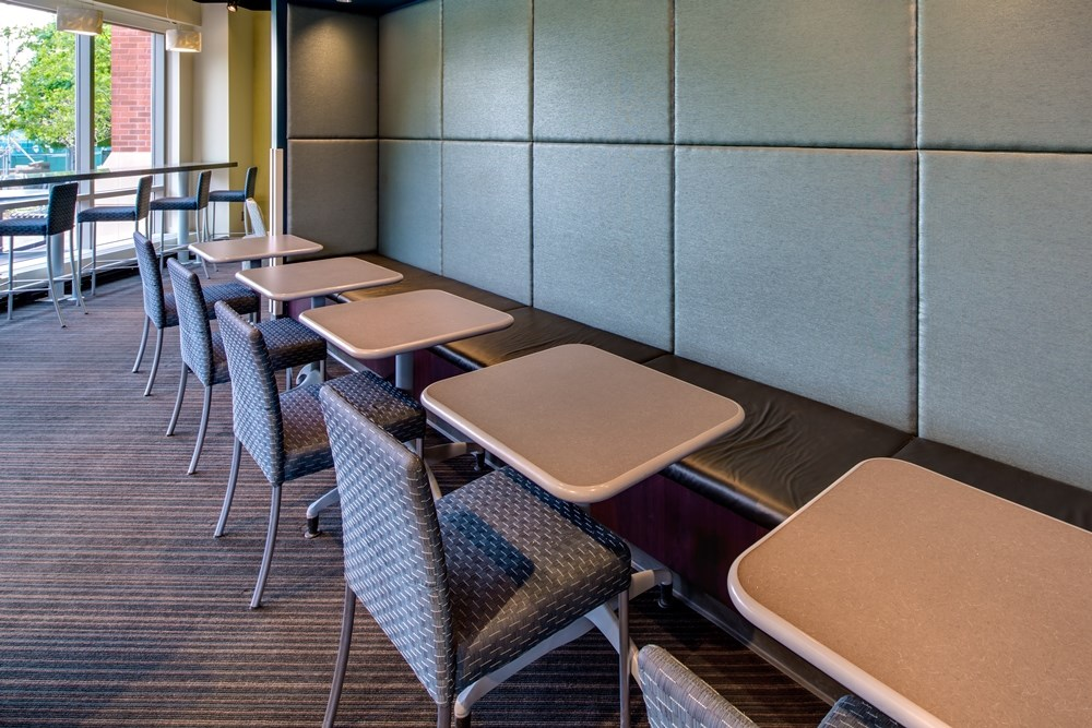 Creighton University's new building includes classroom space and informal gathering areas.