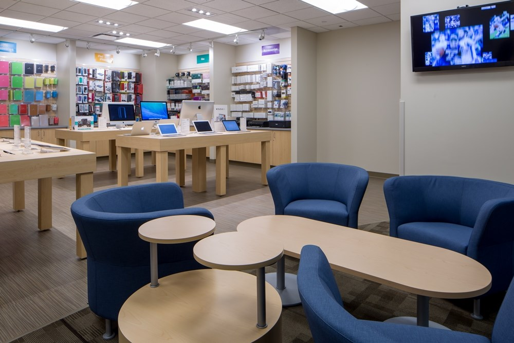 The iJay store at Creighton University was designed to provide collaborative spaces for product demos.