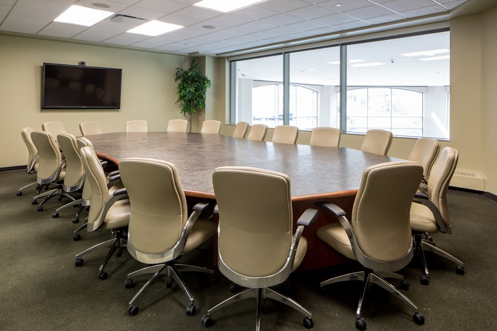 Conference rooms were incorporated into the Heider redesign by Opus AE Group.