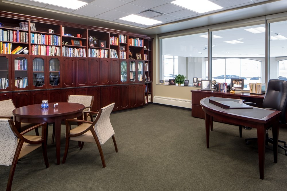 Formal office space was included in the Harper Center by Opus AE Group.