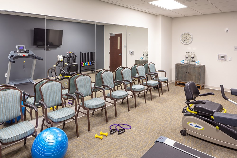fitness center of Orchards of Minnetonka senior living facility in Minnesota