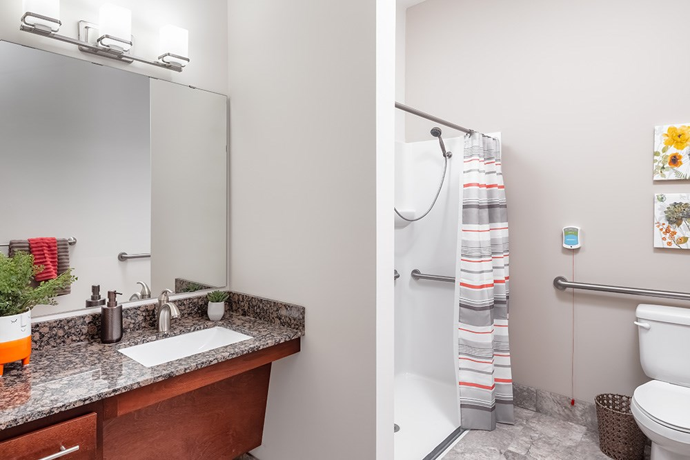 apartment bathroom of Orchards of Minnetonka senior living facility in Minnesota