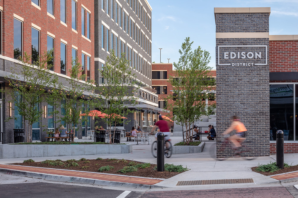 Exterior of Edison District in Overland Park, Kansas, by The Opus Group