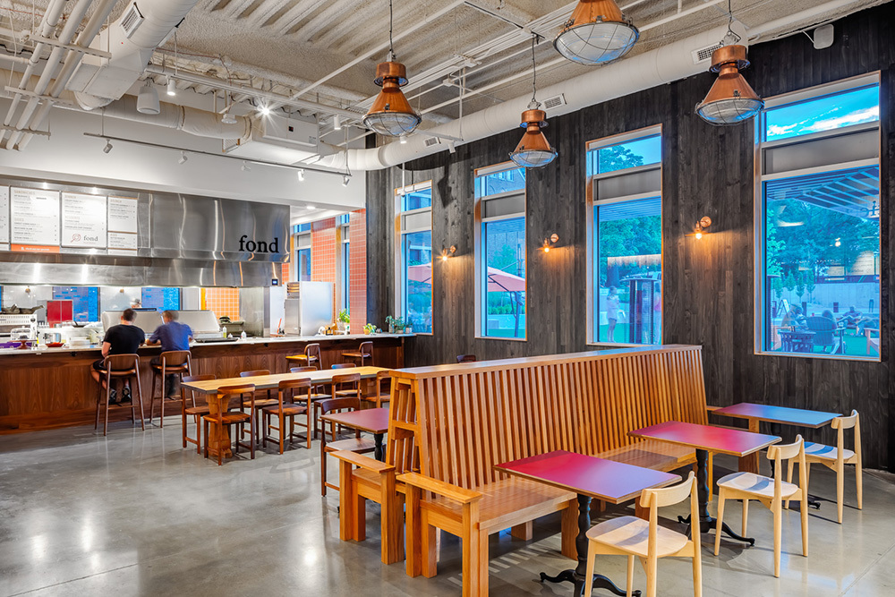 Strang Hall, a food hall in Edison District in downtown Overland Park, Kansas, by The Opus Group