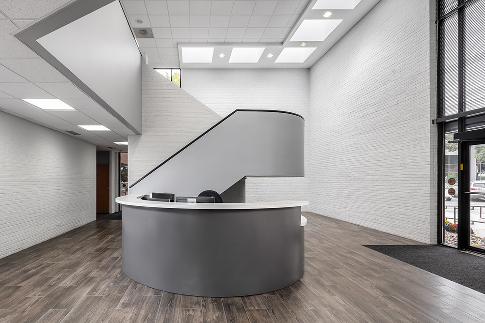 Renovated lobby at LabCorp value add office in Overland Park, KS