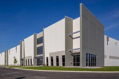 Meritex Company's new spec industrial building in Columbus, designed and built by Opus.