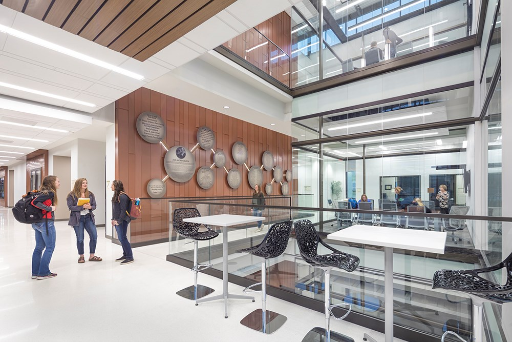 Northwestern College Health Natural Sciences Atrium Study Space built by Opus Design Build.