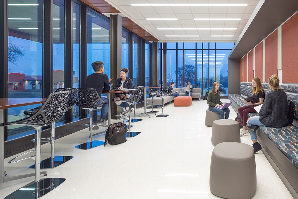 Northwestern College Health Natural Sciences Open Collaborative Study Area built by Opus Design Build.