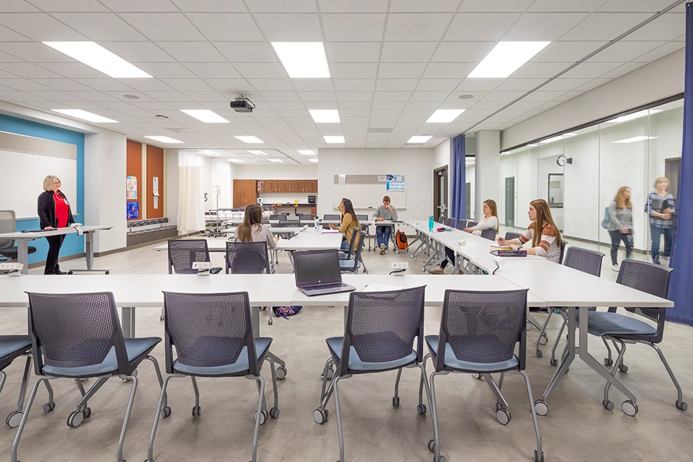 Northwestern College Health Natural Sciences Flexible Learning Classroom built by Opus Design Build.