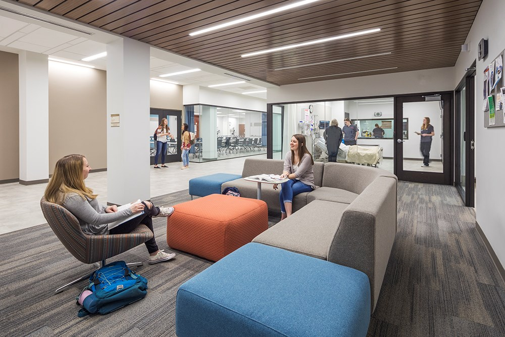 Northwestern College Health Natural Sciences Nursing Lounge built by Opus Design Build.