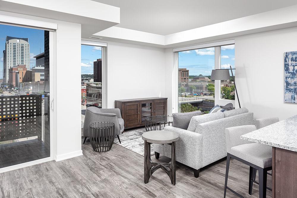 The Maven on Broadway Multifamily unit living room