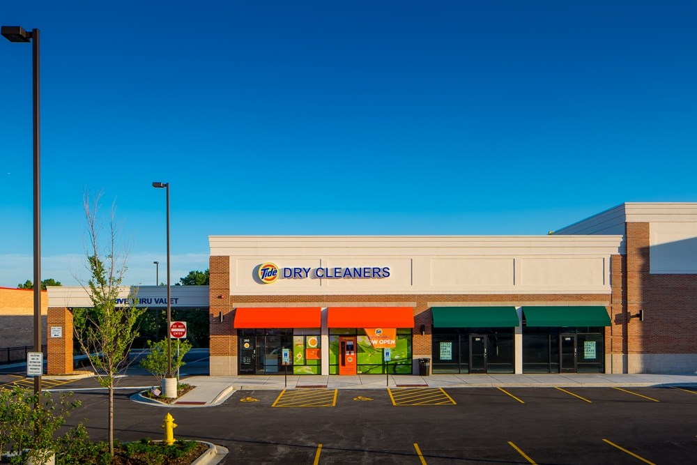 Tide Dry Cleaners, a new concept store, was brought to The Fresh Market Center by Opus Development Company.
