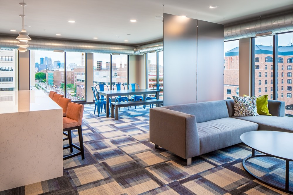 Clubroom of The Station on Washington Student Housing Development in Minneapolis