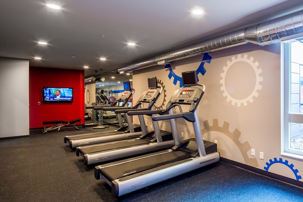 workout room at The Station on Washington Student Housing Development in Minneapolis