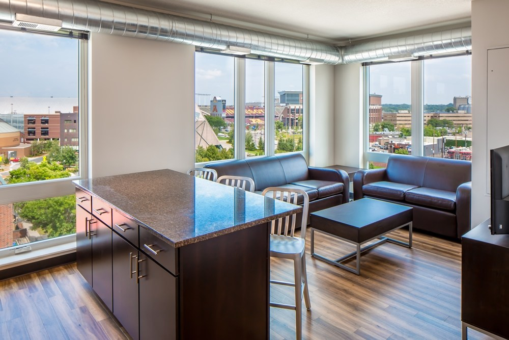 unit living room at The Station on Washington Student Housing Development in Minneapolis