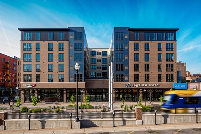 Final exterior image of The Station on Washington Student Housing Development in Minneapolis
