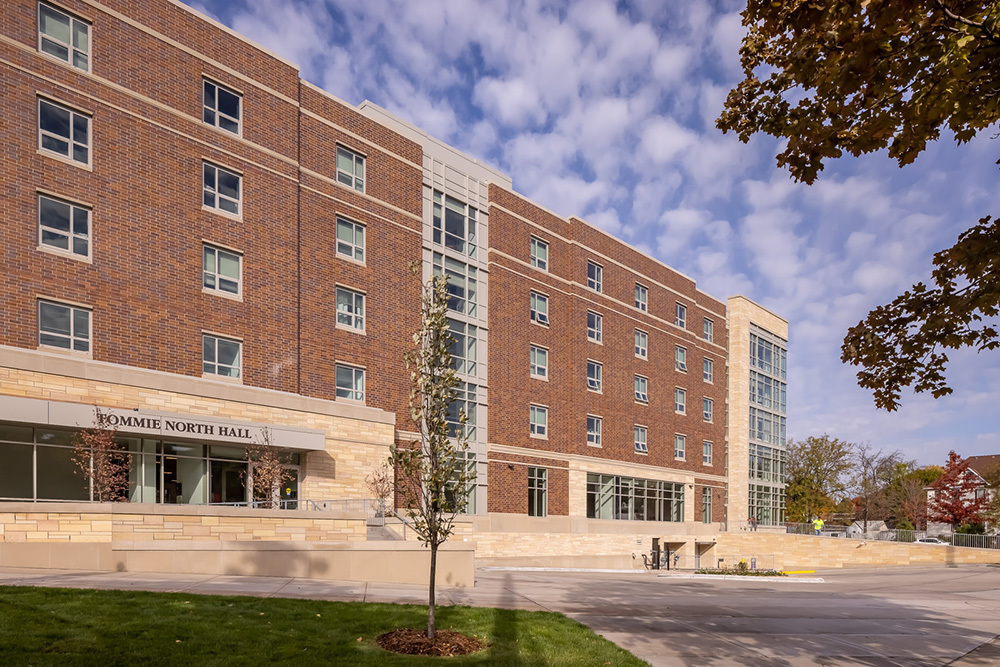 exterior of University of St Thomas Tommie North Residence Hall