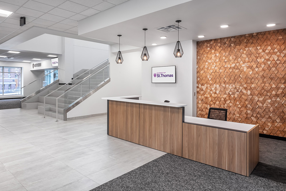 lobby and reception in University of St Thomas Tommie North Residence Hall