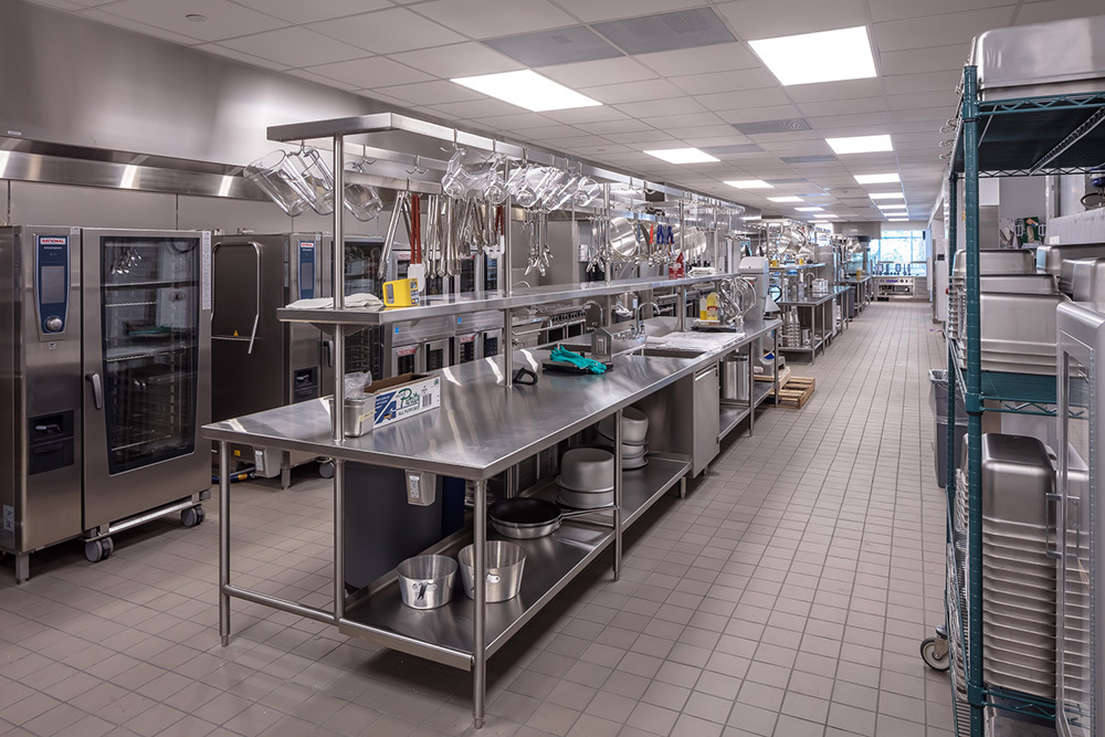 cafeteria kitchen and prep space in University of St Thomas Tommie North Residence Hall