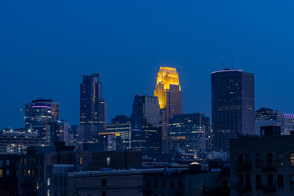 nighttime views of downtown Minneapolis from Vesi apartment development
