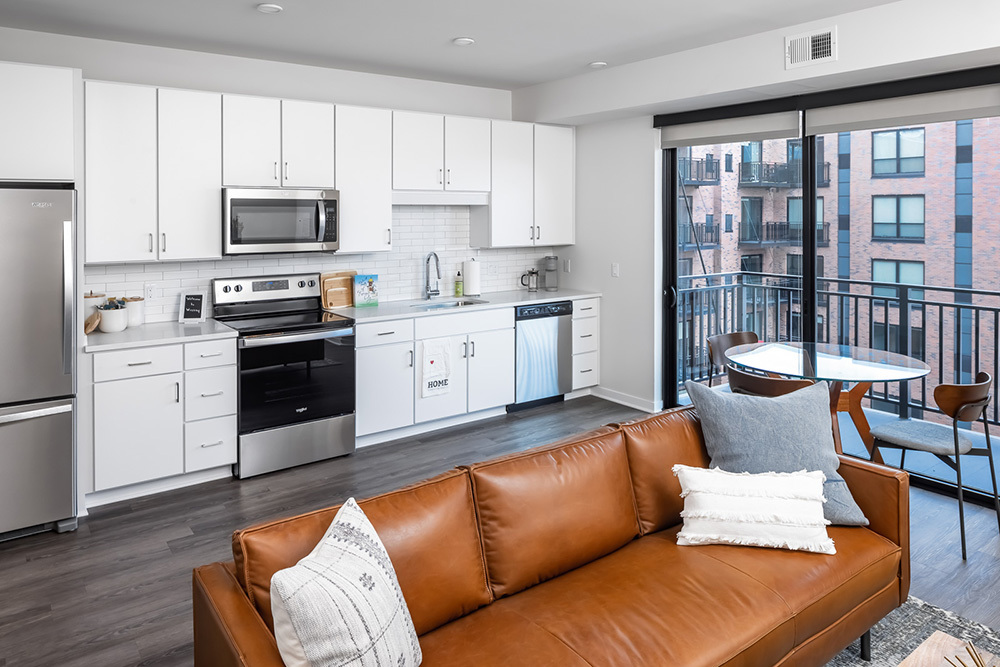 Westley on Broadway Apartment model unit kitchen